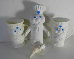 Vintage Pillsbury Dough Boy  two mugs blue eyed by FeliceSereno, $15.00