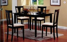 5-Piece Dining Set in Black - Coaster - http://www.furniturendecor.com/5-piece-dining-set-in-black-coaster/ - Categories:Dining Room Furniture, Dining Room Sets, Furniture, Home and Kitchen