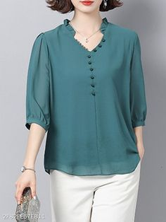 V Neck Patchwork Elegant Plain Three-Quarter Sleeve Blouse - Top clothes Blouse Styles, Blouse Designs, Quarter Sleeve, Chiffon Tops, Fashion Outfits, Blouse Online, Clothes For Women, Sleeves, T Shirt