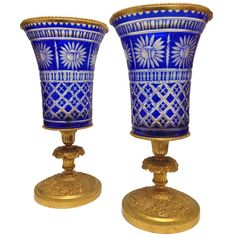 Baccarat Overlay Blue Cut to Clear with Gilt Bronze Mounts 19th Century |  	1890s