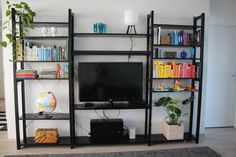 Our living room and Lundia Classic shelf painted in black