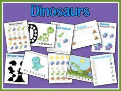 Dino pre-k pack from 2 Teaching Mommies Preschool Curriculum, Preschool Printables, Preschool Themes, Preschool Kindergarten, Free Preschool, Homeschooling, Dinosaur Printables, Free Printables, Dinosaur Theme Preschool