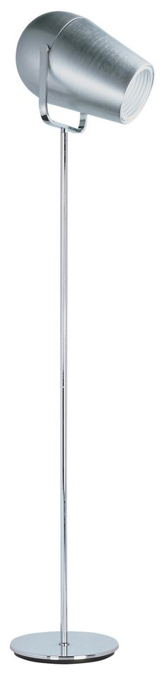 LED Floor Lamp. Inspired by stage lighting, this functional collection will display plenty of light wherever needed. This refined rendition features a soft round body finished in Satin Aluminum, chrome hardware accents, and is powered by a dimmable 15 watt COB LED.