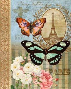 Gravura decoupagem vintage borboletas