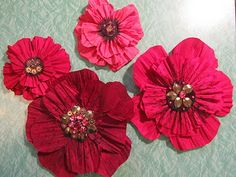 How to use spray on stiffner to crinkle silk into petals.