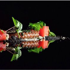 Smoked octopus salad served with compressed watermelon and goma #teatrogastroteque #teatrogatrotequebali #thebalibible #bestgourmet #balidaily #gastronomy #world50bestrestaurant #theartofplating #foodgasm by diovallery