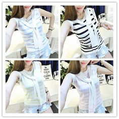 4 colors Chibi Sailor Knitted Stripe Summer Shirt SP152453