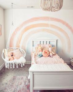 Cool Kids Bedrooms, Big Girl Bedrooms, Little Girl Rooms, Girls Bedroom, Girl Nursery, Kids Rooms, Kids Bedroom Organization, Rainbow Nursery, Rainbow Room