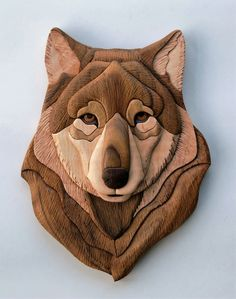 Wolf Head Intarsia Wall Hanging