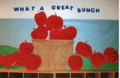 Goff's Pre-K Tales: A Whole Year of Bulletin Boards Mrs. Goff's Pre-K Tales: A Whole Year of Bulletin Boards Apple Bulletin Boards, Toddler Bulletin Boards, September Bulletin Boards, Halloween Bulletin Boards, Winter Bulletin Boards, Back To School Bulletin Boards, Preschool Bulletin Boards, Apple Theme Classroom, Preschool Apple Theme