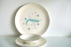 Retro Canonsburg Pottery -Allegheny Ware Blue Heaven Dinner Set