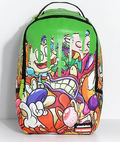 90s kids will love the 90s Slime Backpack from Sprayground x Nickelodeon. Featuring shiny green slim running down the backpack over the 90s cartoon themed graphic that features Cat Dog, Rugrats, Hey Arnold and more! The exterior isn't the only thing that