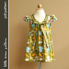 I like the pleated neckline....Stella Dress - PDF Pattern - Size 12 months to 8 years old and tutorial.. $6.00, via Etsy.