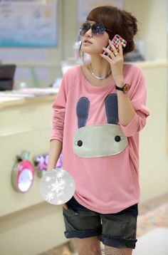 Latest Cartoon Applique Long Dolman Sleeve Women T-shirt on BuyTrends.com, only price $18.67