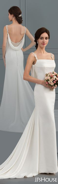 This mermaid wedding dress has perfect design and great fabric! #JJsHouse #Wedding