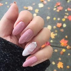 """Something more delicate and """"fancy"""" to fight off this murky fall weather: @semilac Classic Nude and some @uberchicbeauty Love&Marriage stamping. The gems are from @crystalparade1"""