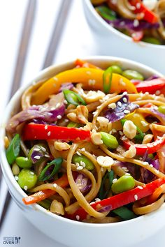 Rainbow Peanut Noodles // gorgeous and fresh via Gimme Some Oven healthy meals, oven, asian noodles, noodle recipes, pasta, healthy foods, rainbow peanut, peanut noodl, vegetable recipes