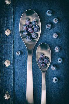 #TomMcNemar  Blueberries On Denim I Print by Tom Mc Nemar.