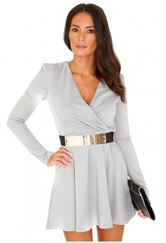Missguided - Rosa Crossover Skater Dress In Grey
