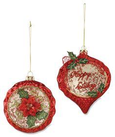 Poinsettia Glass Ornaments | Vintage Style Christmas Ornaments