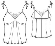 Camisole with Lace Inset - Sewing Pattern #5417 - $2.49 (Enter your measurements for a custom-size pattern!)