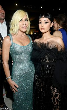 Dynamic duo: Donatella Versace and Alexa Demie posed together...