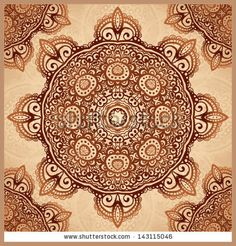Ornate vintage vector pattern in Indian mehndi style