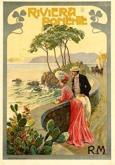 """""""Riviera Ponente"""" 1895 - RARE 27 x 39 inches"""" ref #Riviera Ponente"""