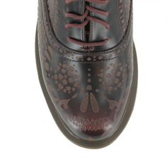 Dr Martens Aila Skull Etched Womens Leather 5-Eyelet Oxford Shoes - Cherry Red