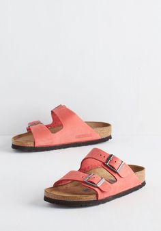 Strappy Camper Sandal in Rose Suede - Narrow. Set up your tent, kick off those hiking boots, and step into these Birkenstock Arizona sandals! #coral #modcloth