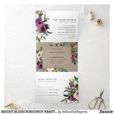 Tri Fold Wedding Invitations, Burgundy Wedding Invitations, Wedding Invitation Wording, Letter Folding, Wedding Guest Book, Bright, Autumn Wedding, Spring Wedding, Rustic Wedding