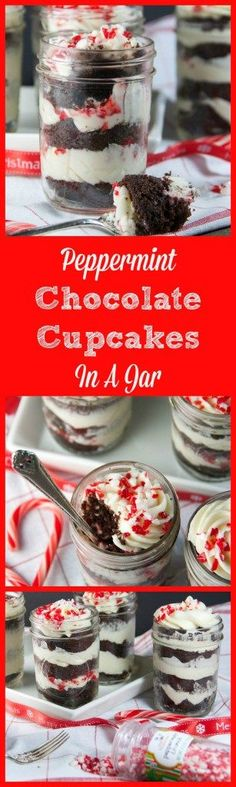 Looking for a fun holiday dessert to serve? How about these peppermint chocolate cupcakes in a jar! Easy chocolate cupcakes with a peppermint cream cheese frosting and peppermint candies!