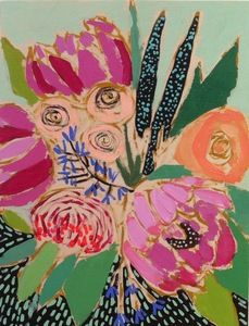 One of the many beautiful floral paintings (this one is acrylic on wood)  by Lulie Wallace. #FlowerShop