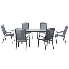 Shop Sunjoy 7-Piece Gray Aluminum Dining Patio Dining Set at Lowes.com