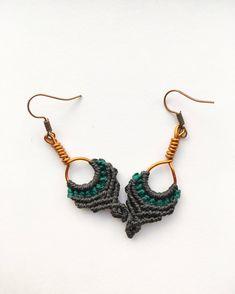 Boho Handmade Hoop Earrings, Macrame Earrings, Small Earrings, Festival, Wedding, Copper, Gypsy, Tribal, Hippie, Beach, Gift, Black, Goa http://etsy.me/2onRKgv #jewelry #earrings #copperearrings  #boho #gypsy #handmade #festival #gemstone #macrame #hippie #tribal