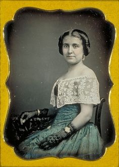 ca. 1840-60, [daguerreotype portrait of actress Kate Vance, wearing jewelry, lace gloves and a slight smile] via Harvard University, Houghton Library, Harvard Theatre Collection
