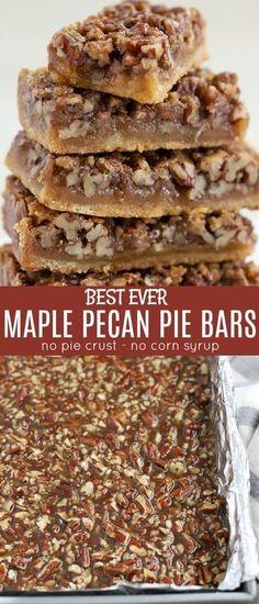 Pecan Bars, Maple Pecan Pie, Maple Bars, Köstliche Desserts, Delicious Desserts, Yummy Food, Maple Dessert Recipes, Plated Desserts, Sweet And Salty