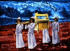Deuteronomy 31:9 So Moses wrote down this law and gave it to the priests, the sons of Levi, who carried the ark of the covenant of the LORD, and to all the elders of Israel. Only the tribe of the priestly Levites could carry the arc, but could not touch it. Shown here crossing the Red Sea while the Israelites passed.