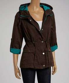 Another great find on #zulily! Holstark Brown & Turquoise Hooded Jacket by Holstark #zulilyfinds
