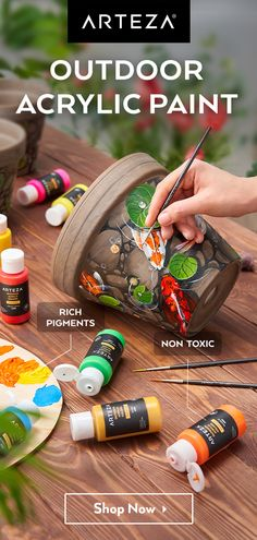 ⚡Get inspired by Amazing 📌Acrylic Outdoor Paint📌!⚡ - Vibrant Colours – Create eye-catching designs with a unique selection of colours. Flower Pot Crafts, Clay Pot Crafts, Rock Crafts, Outdoor Acrylic Paint, Acrylic Paint Set, Painted Flower Pots, Painted Pots, Rock Painting Designs, Paint Designs