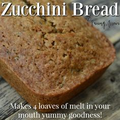 Large Family Zucchini Bread Recipe Zuchinni Recipes Bread, Large Zucchini Recipes, Classic Zucchini Bread Recipe, Yummy Treats, Yummy Food, Fun Food, Sweet Treats, Tasty, Large Family Meals