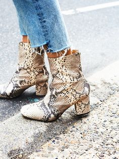 Free People boots are designed to look good with any outfit. Shop our collection of leather boots, knee high boots, and ankle boots for women. Leather Ankle Boots, Ankle Booties, Snakeskin Boots, Ankle Shoes, Timberland Boots, Botas Outfit, Easy Style, Snake Print Boots, Tokyo Street Fashion