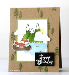 Perfect Paper Crafting and Avery Elle Blog Hop!  Birthday card inspired by one on the Avery Elle Blog some time ago.  Happy Camper stamp set.