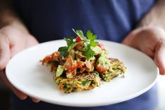 Zucchini fritters with Tomato and Avo salsa