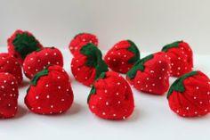 How to sew felt strawberries http://whilewearingheels.blogspot.com/2011/08/i-heart-fake-food-felt-strawberry.html
