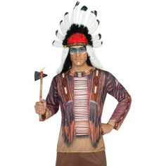 Shirt met lange mouwen en 3D indiaan print. Met dit shirt lijkt het net of je een complete indianen outfit draagt! Het shirt is one size, maat M/L, en gemaakt van 100% polyester.