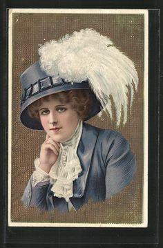 old postcard: AK Porträt einer nachdenklichen Frau mit Hut