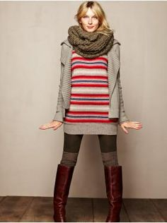 Sweater dress, tights, over the knee socks, knee high boots, chunky cardigan, and infinity scarf.  Done, done, and done.