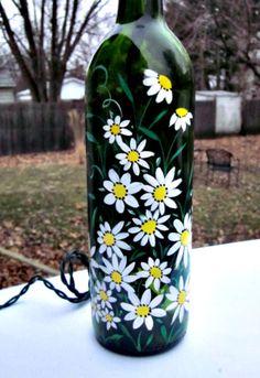 Wine Bottle Light, Night Light, Hand Painted Green Wine Bottle, White Flowers all Around