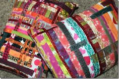 Scrappy Strip Pillowcases #persimondreams